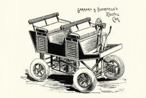 Vintage engraving of Garrard Bloomfield's Electric Car. 1896